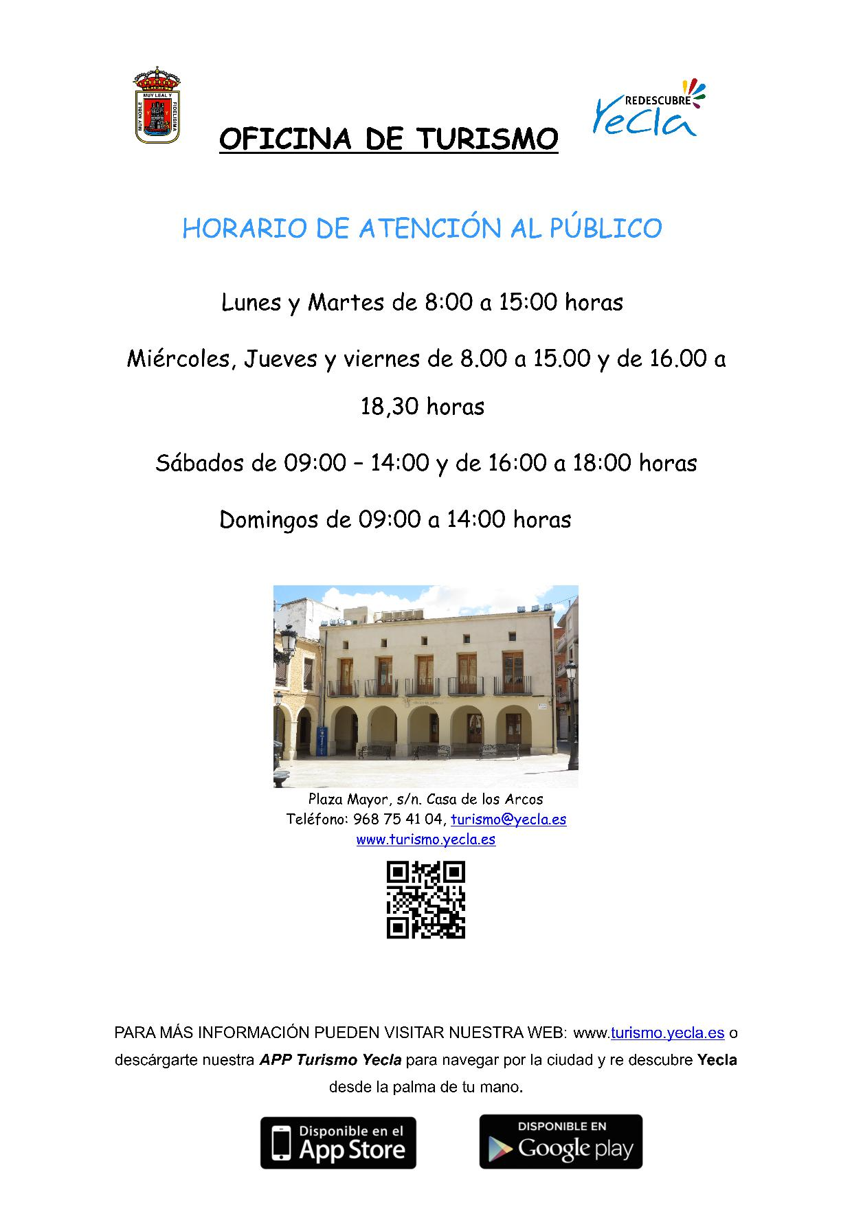 Office hours of the Tourism Office of Yecla