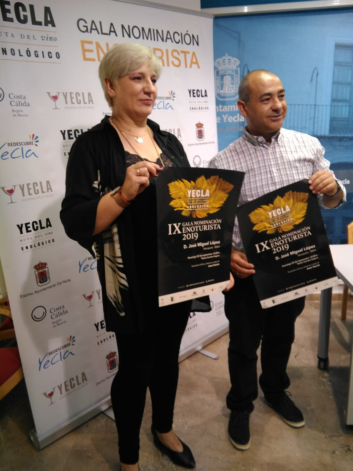 Press conference IX Wine Tourism Nomination Gala 2019. Presentation by the president of the Yecla Wine Route, Aurora Picó and Tourism Councilor Jesús Verdú